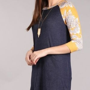 Tops - Made in USA Navy Floral Baseball Tee